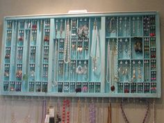 Printers Drawer Jewelry display - funky, organized, has character and love the color!