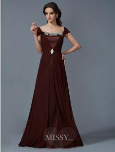 A-Line Strapless Short Sleeves Floor-Length Chiffon Dress