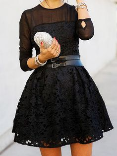 Black Embroidered Lace Splicing 3/4 Sleeve Dress