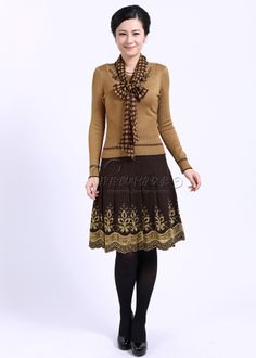 sheng yani genuine spring and fall of 2012 middle-aged women's fashion long-sleeved fitted skirt middle-aged mother 12109 - www.9channel.com...