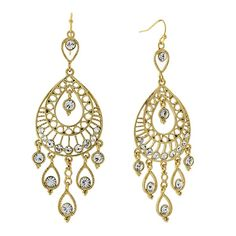 These stunning gold-tone earrings with filigree teardrops and quality crystal stones detailing are perfect for adding glamour to your look. From our 2028 collection. Silver Pendant Necklace, Sterling Silver Necklaces, 1920s Jewelry, Cheap Jewelry, Bridesmaid Jewelry, Teardrop Earrings, Jewelry Findings, Stones And Crystals, Crochet Earrings