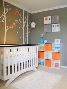 15 Cool Cribs for Every Style : Rooms : Home & Garden Television Try this for a forest scene - small animals in colored silhouette - raccoon, squirrel, fox, deer, etc.