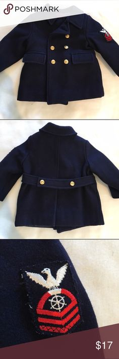 🎉HP🎉 Military Style Kid's Pea Coat 🎉 Navy blue wool military style pea coat by Fieldstone Clothes.  Gold buttons with anchors. Size arm patch.  Size kids 2.  Perfect for a boy or girl.  Great condition and so unique! Fieldstone Clothes Jackets & Coats Pea Coats