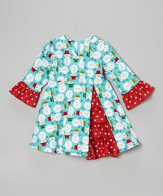 Take a look at this Teal & Red Snowman Ruffle Dress - Toddler & Girls by Beary Basics on #zulily today!