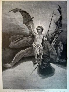 Antique print Jesus Christ Satan Overcoming Evil by Treehouse58