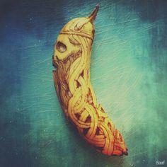 Viking Skull Banana Art Print