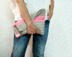 Oversized Neon Clutch Purse Grey Pink Color Block por faima en Etsy