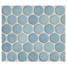 "Complete Tile Collection Penny Round Mosaic - Agua Azul - Matte, 1"" Round Glazed Porcelain Penny Mosaic Tile, Anti-Microbial, Anti-Odor, Ant..."
