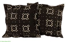 2 Mudcloth Pillows Black and White Mali African 16 x 16 inch