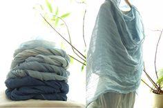 Linen scarf super soft scarf Indigo woad blue by dyeing2meetU