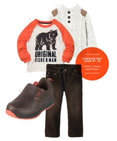 Boy Clothes: Toddler Boy Inspiration Board #01: Coral, Cream, and Brown from The Kids' Dept.