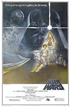 Star Wars 1977 (Mark Hamill, Harrison Ford, Carrie Fisher) Luke Skywalker leaves his home planet, teams up with other rebels, and tries to save Princess Leia from the evil clutches of Darth Vader. Star Wars Film, Star Wars Poster, Star Wars Episódio Iv, Poster S, Star Wars Love, Print Poster, Iconic Movie Posters, Iconic Movies, Good Movies