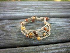Upcycled Bracelet Hemp Bracelet Multi Strand by ThreadedChains (love the idea but fear it would irritate one's skin)