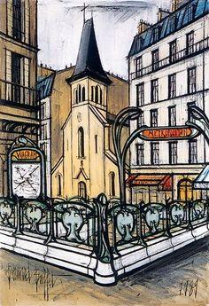 Bernard Buffet - Saint-François de Salle et la rue Brémontier, 1989 Saint Tropez, Chaim Soutine, Illustrator, Australian Painters, Estilo Art Deco, Cityscape Art, French Artists, Museum, Pictures To Draw