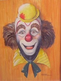 Image detail for -Dianne Dengel C, USA) Clown portrait, mixed : Lot 301 Naive, Laugh Now Cry Later, Image Fruit, Image Halloween, Image Nature Fleurs, Clown Paintings, Le Clown, Images Vintage, Clowning Around