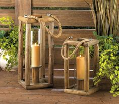 A tall dose of pastoral style will light up your living space when you place a candle in this unique lantern. The natural wooden frame shows its true beauty, while the tall and simple hurricane glass inside keeps the flame burning bright. A neat candle platform and thick rope handle complete its unassuming style. (Shown with Sylvan Candle Lantern - Small)