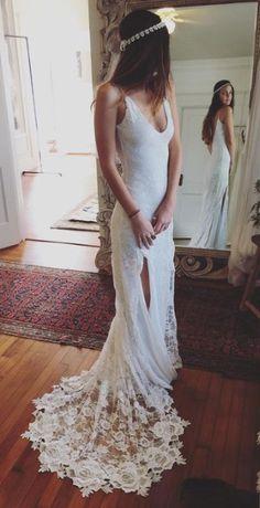 Beach Backless Wedding Dresses,Wedding Dress,Custom Made Wedding Gown