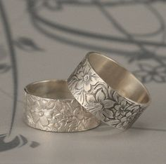 Flora and Fauna 8.5mm Wide Sterling Silver Band or by debblazer