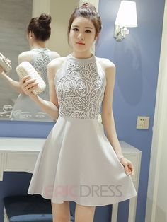 Ericdress Lace Patchwork Halter Casual Dress Casual Dresses