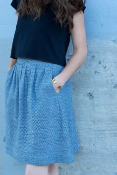 Liesl + Co. Everyday Skirt in Dotty Chambray! | CUT CUT SEW