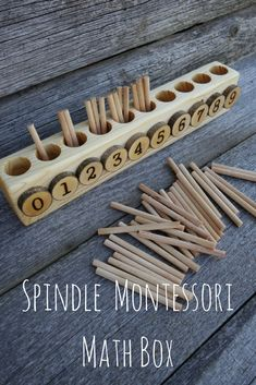 This is an alternative version of the original Montessori Spindle Box.It is small and perfect for home use where every inch of space counts. It measures 12 inches long and the spindles are 3 inches long.