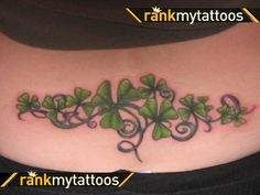 Shamrock tattoo. Like this idea, maybe around the ankle like a bracelet. Or vertically up the ankle, only not as much/big.