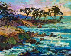The pebble shores and cypress trees of Monterey California painting in oil on canvas by contemporary impressionist, Erin Hanson.