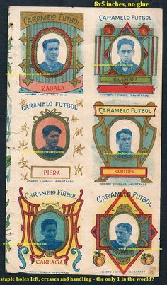 1920 uncut sheet of Spanish trade cards with rookie cards for Alcantara and Samitier. Only 1 in the world? Surely yes Soccer Cards, Football Cards, World Football, Football Soccer, Rarity, Ephemera, Vintage World Maps, Spanish, Old Things