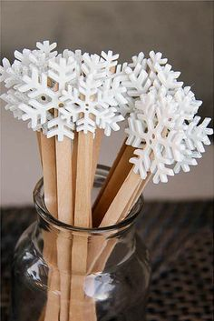 Hot Cocoa snowflake stir sticks
