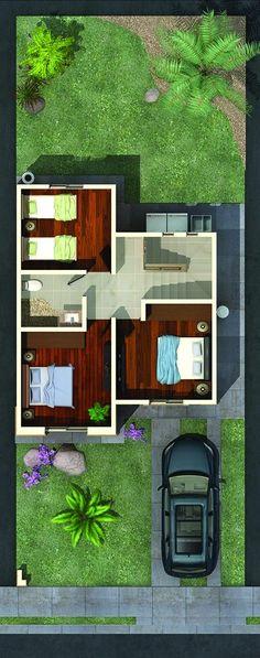Planta Alta Indian House Plans, My House Plans, Small House Plans, House Floor Plans, Small Villa, House Map, Indian Homes, Conceptual Design, Architecture Plan