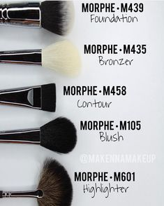 @makennamakeup breaking it down for us!! M439 blends foundation like a dream! M435 great for bronzer or blush!! M458 IDEAL for carving out that contour M105 great for blush or bronzing!! M601 for that highlight bling! by morphebrushes