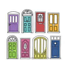 Doors: pen drawings with digital colour Building Illustration, Illustration Art, Art Sketches, Art Drawings, Doodles, House Drawing, Urban Sketching, Line Drawing, Drawing Art