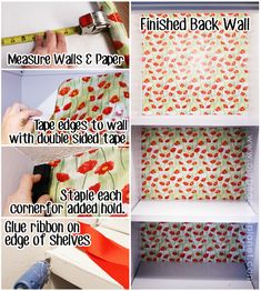 Herb Closet Makeover Wall Covering and Ribbon