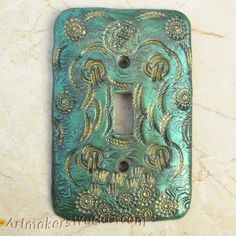 Switch plate in textured pearlized polymer clay | ArtmakersWorlds - Housewares on ArtFire