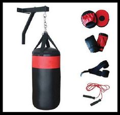 Punching Heavy Bag Boxing Training Workout Kit Equipment Gloves Pads Jump Rope