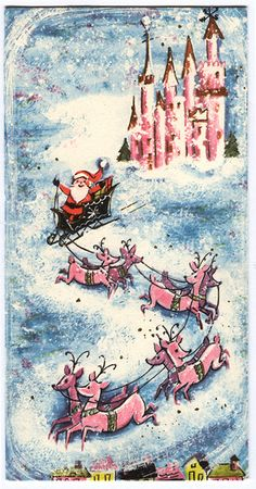 Santa leaving his pink North Pole castle with his fab pink reindeer.