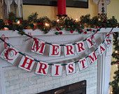Merry CHRISTMAS Banner Holiday Mantle Garland Holiday Photo Prop Vintage Inspired Holiday Banner