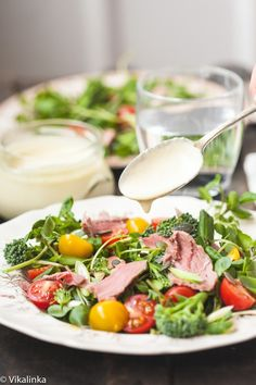 Watercress and Roast Beef Salad with Creamy Horseradish Dressing