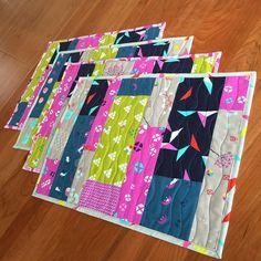 """#secretsewing (maybe not so secret) for my SIL @iamcatreading  modified from """"Color Block Placemats"""" pattern by Elizabeth Hartman on @sewmamasew blog  Catrina loves #mochi from #cottonandsteel so much that she bought me the FQ bundle to sew up into projects for her! Ummmm ... YES!! #winwin #thosebunnies #loveher #family #handmade #cngfinish2015"""