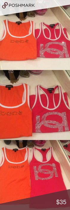 Nwot Final bebe tank tops orange & pink 2 bundle M Both medium both bling both white trim 1 tank style 1 racer back no stones missing both was get both for 1 low Price they have separate listings or get Both for $35 bebe Tops Tank Tops