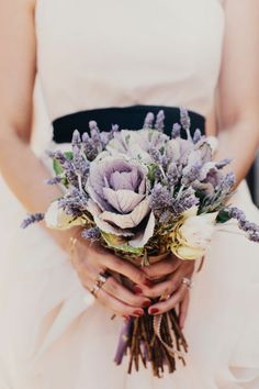 cabbage and lavender bouquet  | james moes photography  | via: style me pretty