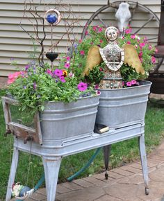 Container Gardening In Old Galvanized Tubs.