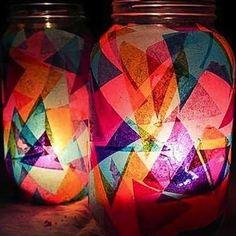 DIY Tissue Paper Mason Jar Lantern