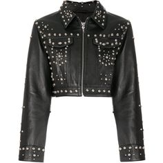 Jeremy Scott studded jacket (55.340 RUB) ❤ liked on Polyvore featuring outerwear, jackets, black, real leather jackets, 100 leather jacket, jeremy scott, genuine leather jackets and leather jackets
