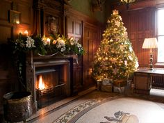 50 Most Beautiful Christmas Fireplace Decorating Ideas - Christmas Celebration - All about Christmas Elegant Christmas Decor, Christmas Decorations For The Home, Beautiful Christmas Trees, Holiday Decor, Classy Christmas, Rustic Christmas, Christmas Fireplace, Christmas Mantels, Christmas Home