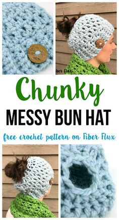 Chunky Messy Bun Hat, free crochet pattern + video tutorial on Fiber Flux