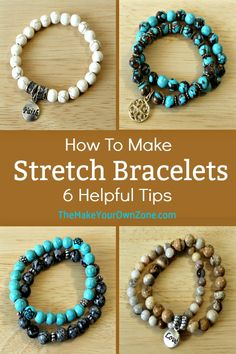 Learn how to make stretch cord bracelets with these six handy tips. They're, fun, fast, and fashionable too! Making Bracelets With Beads, Beaded Bracelets Tutorial, Diy Bracelets Easy, Handmade Bracelets, Cord Bracelets, Colorful Bracelets, How To Make Braclets, Stretch Bracelets, Bracelet Making