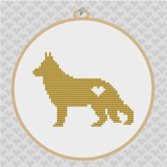 German Shepherd Silhouette Cross Stitch