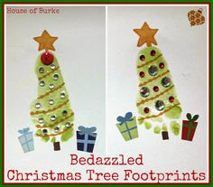 Bedazzled Christmas Tree Footprints - House of Burke
