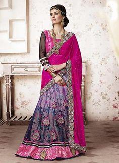 Lavender Floral Print  A Line Lehenga Sarees ,Indian Dresses - 1